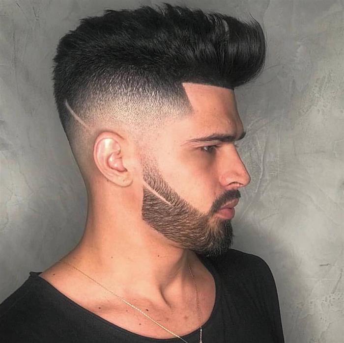 corte de cabelo masculino com risco na barba