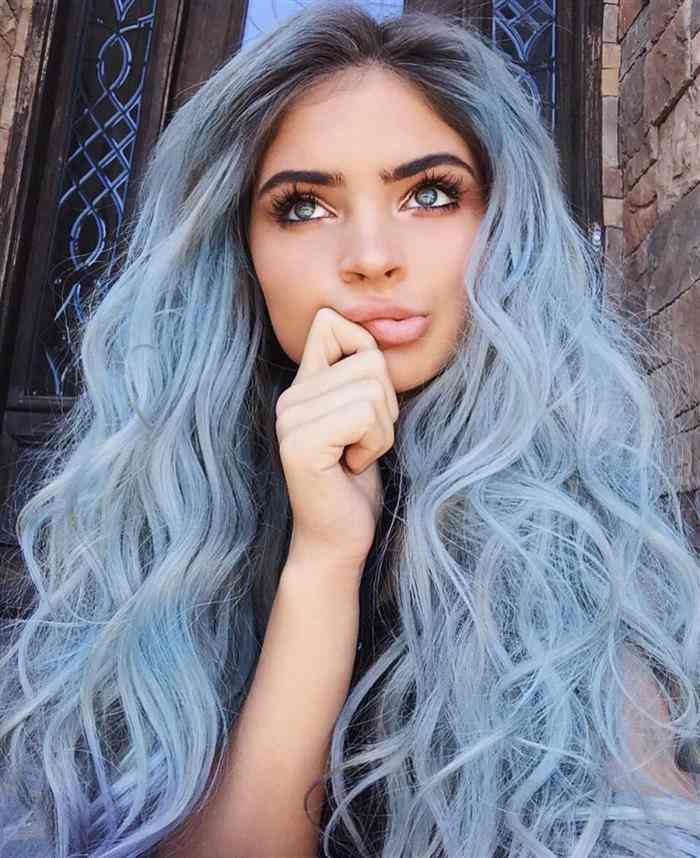cabelo azul longo