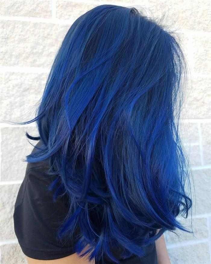 cabelo todo azul