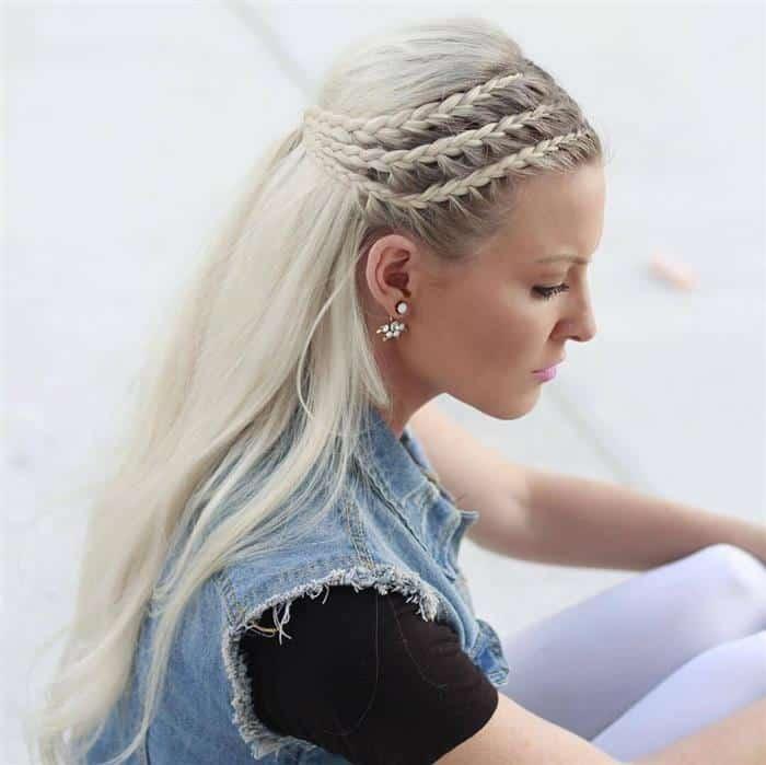 penteados com tranças e cabelo solto