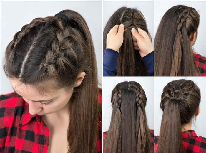 trança com cabelo repartido no meio