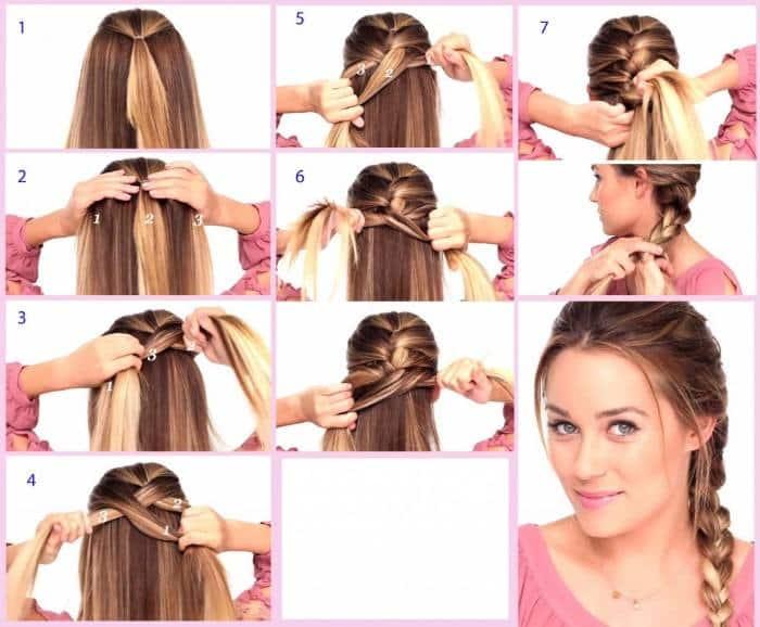 penteados simples com trança