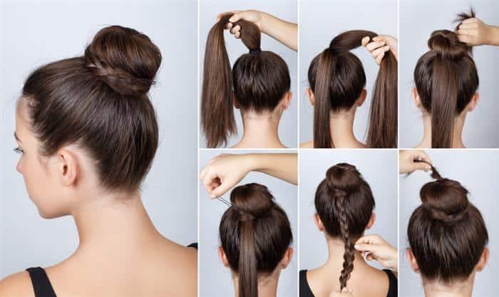 penteados simples com coque