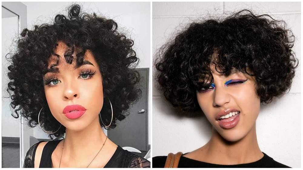 cabelo cacheado com franja 2021 curto
