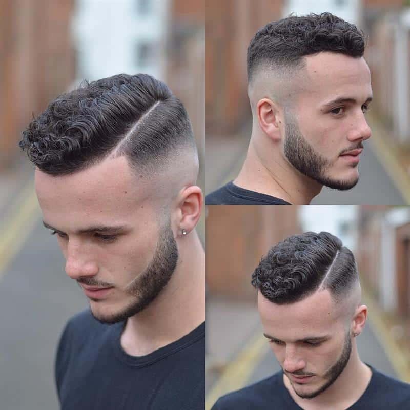 cabelo cacheado masculino de lado