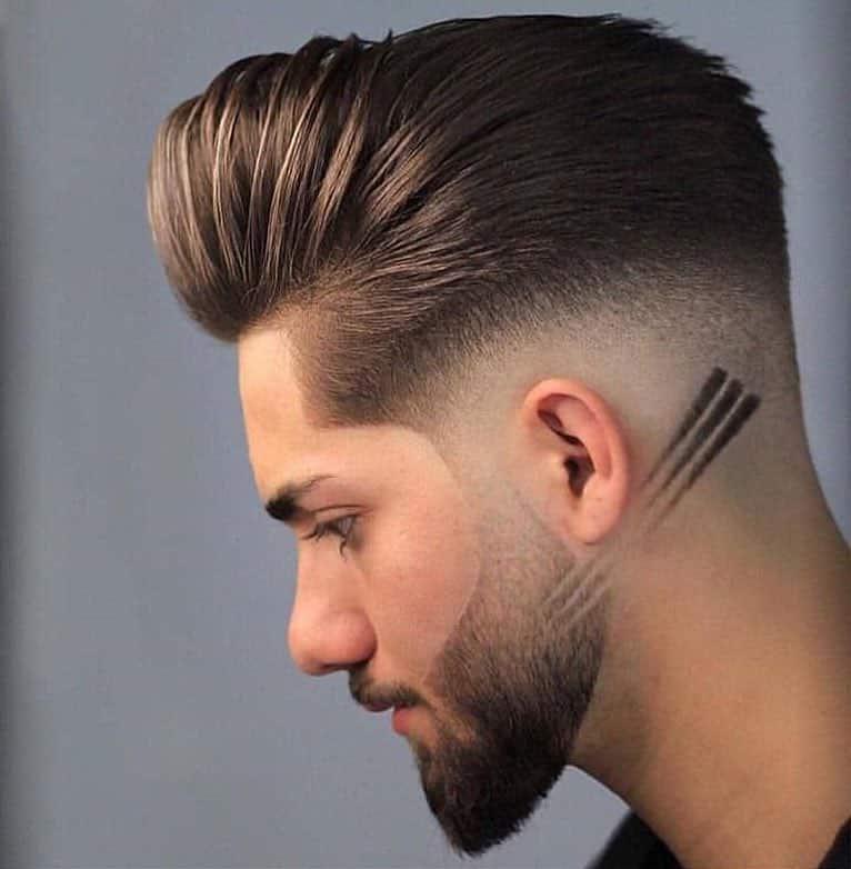 corte de cabelo com 3 riscos