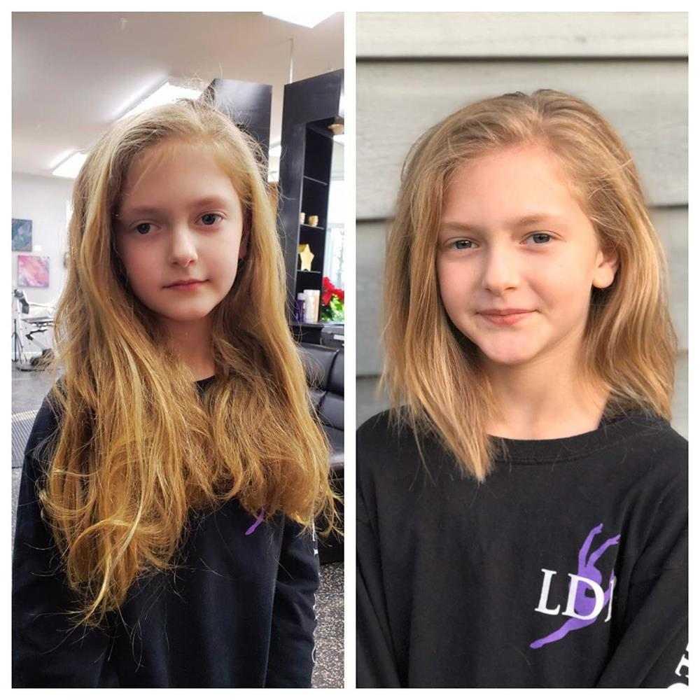 antes e depois do corte de cabelo
