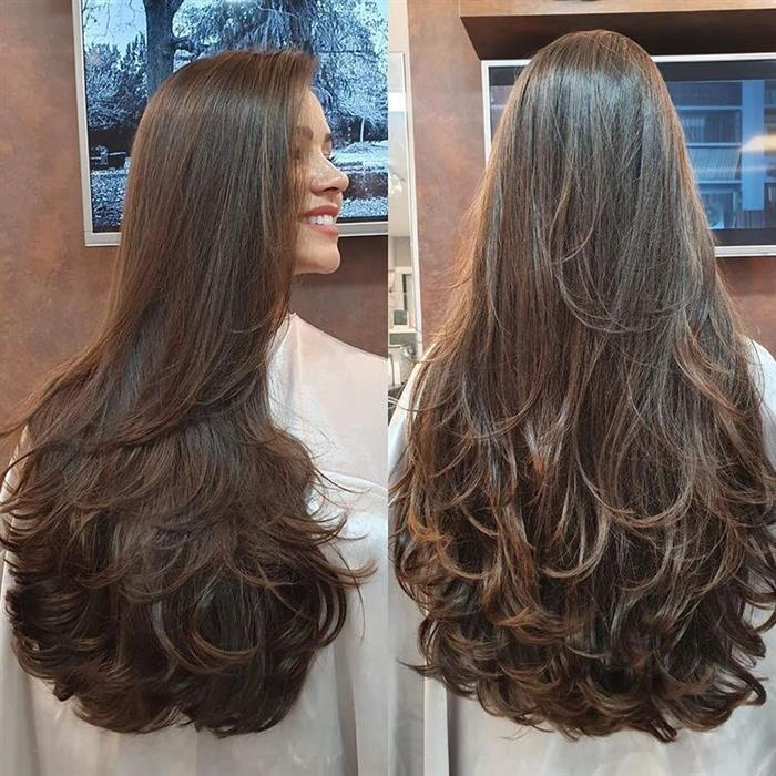 cabelo longo com volume
