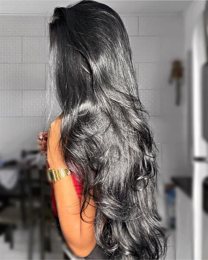 Cortes de cabelos longos em cabelo preto