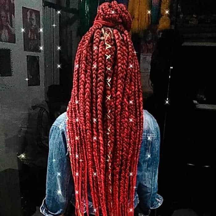 box braids de linha vermelhac